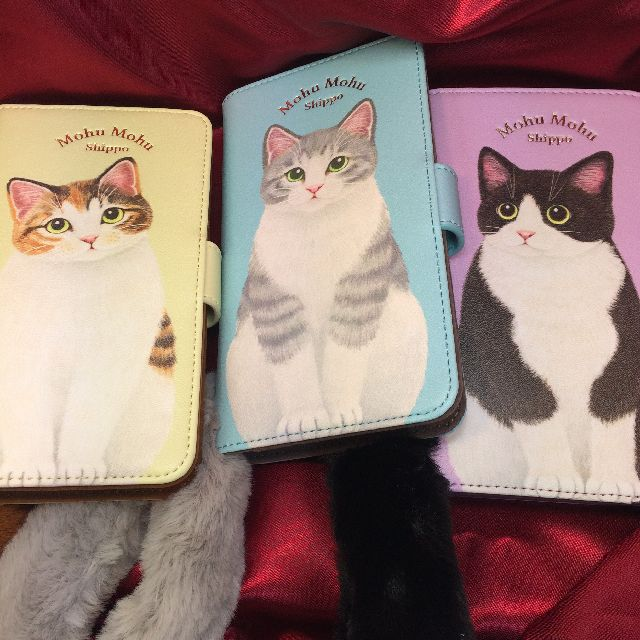 フェリシモ猫部のシッポ付きスマホカバー、ブック型の3種類の全体画像