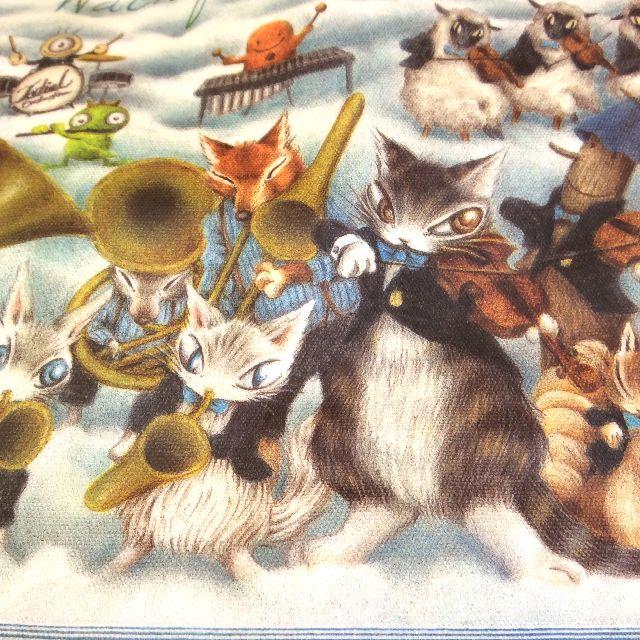 猫のダヤンのラミネートレッスンバッグ音楽会の楽器を演奏している部分のクローズアップ画像