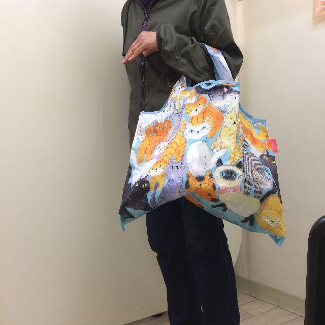 エコバッグ「ねこちゃんねこちゃん」を手に持った画像