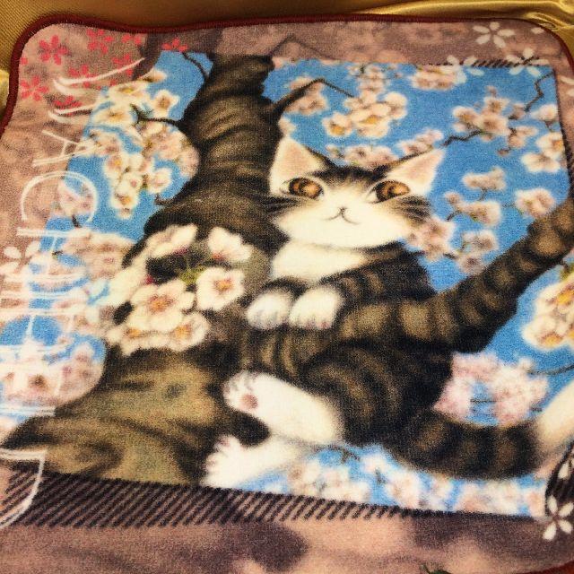 猫のダヤンのタオルハンカチ「桜の風」の全体画像