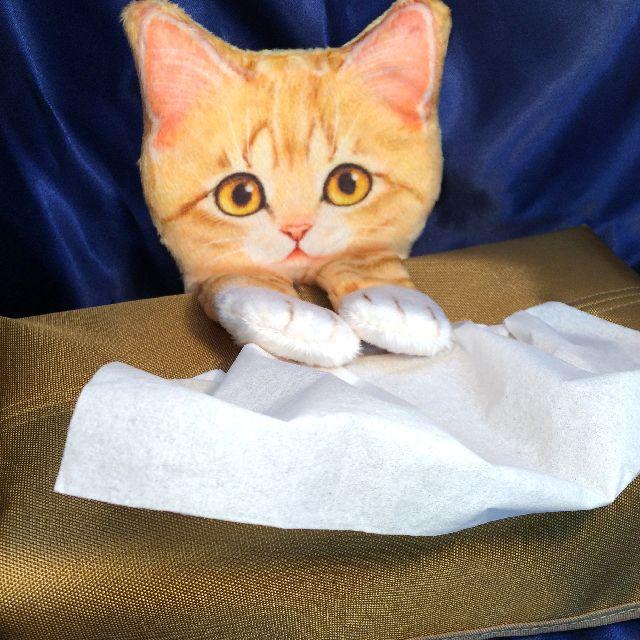 フェリシモ猫部のティシュボックスカバーの猫の手を前に出した画像