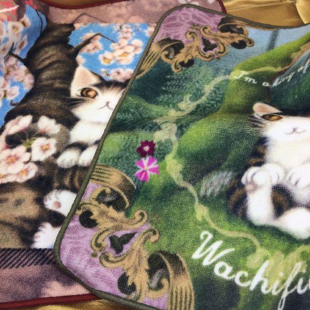 猫のダヤンのタオルハンカチ「桜色の風」と「森の王様」柄の全体画像