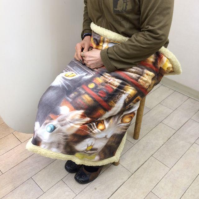 ダヤンのアートひざかけ「グロッサリー」を膝に掛けた画像