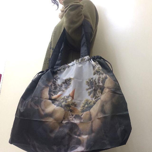 ダヤンのふくろう裁判レインバッグカバーの背面側を腕に掛けた画像